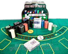 Poker set (2 packs, 200 counters, cloth)