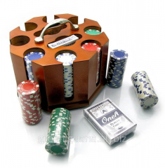 Poker set in a wooden support (200 counters, 2