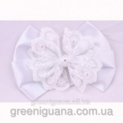 Elastic band bow (silk: white, pink)