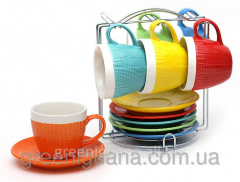 The set of 6 mugs 275 of ml saucers on threw to a