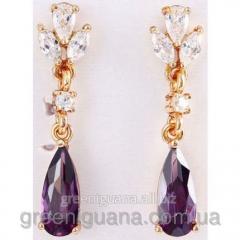 Carnation earrings amethystine drop, gilding