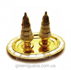 Saltcellar, pepperbox bronze with nacre