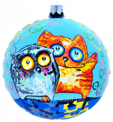 Christmas tree decorations. Animation cat and owl