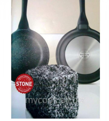 Frying pan with a stone covering of Rock Stone of