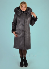 Sheepskin coat female with a hood No. 36