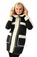 Sheepskin coat female with a hood No. 6 of B