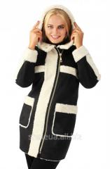 Sheepskin coat female with a hood No. 6 of B