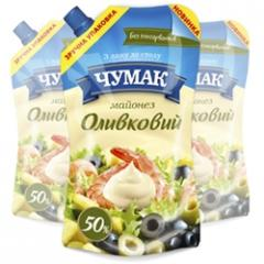 The olive mayonnaise in packaging doy-pack ice