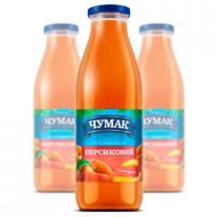 Peach nectar with pulp in glass jar (750 ml.)