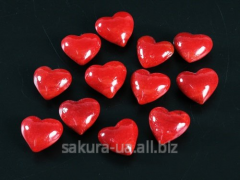 Filler / Piece of glass / Heart / Red / 12 pieces