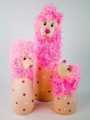 Figure ceramic / A / Poodle / Fluffy / Pink / Set