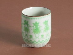 Set cups / ceramics / 6 pieces / Ornament / White