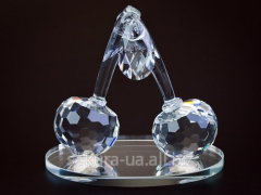 Figure crystal / Cherries of 2 pieces f16406