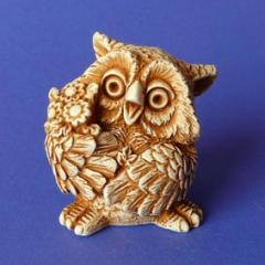Handwork figure the Plaster / Owl with n01003-03