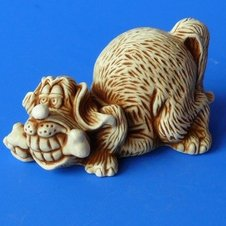 Handwork figure the Plaster / Dog with n01010-06