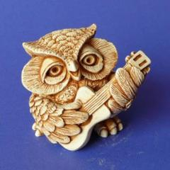 Handwork figure the Plaster / Owl with n01003-04