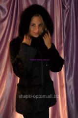 Fur coat from fur of rabbit, with hood No. 024ShUB