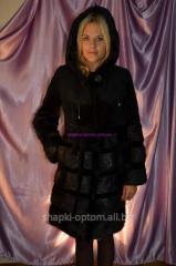 Fur coat from nutria, black color No. 027ShUB