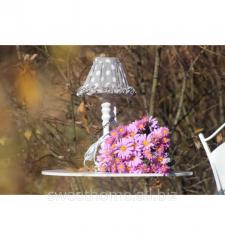 Лампа в серый горох с белым основанием