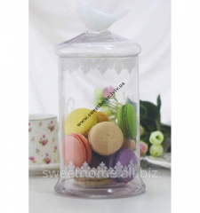 Jar with lace and a birdie