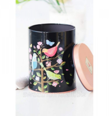 Jar metal black color painted with birds