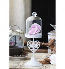 Бонбоньерка стеклянная с металлической ножкой