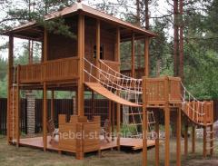Игровые площадки деревянные, спортивные комплексы