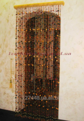Curtain from wooden beads