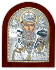 Icon silver with gilding Saint Nikolay on a wooden