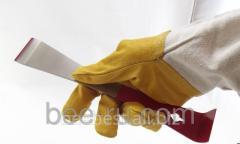 Gloves of the beekeeper of Beeland - skin, flax