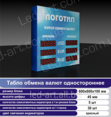 LED board currency exchange unilateral 600х600 mm