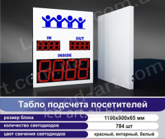 LED board of calculation of visitors 1100 x 900 mm