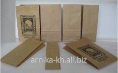 Paper packaging for tea. Packages from the kraft
