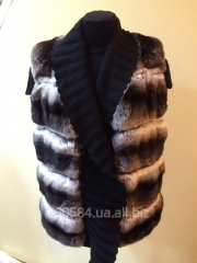 Vest from natural fur of chinchilla