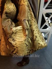 Сумка женская из кожи питона с ремнём из крокодила