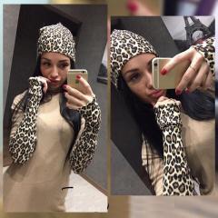 Stylish female hat + mitts of