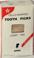 Toothpick in individual cellophane, 65 mm,