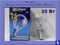 Лампа накаливания ЛОН 25Вт Е14в индивидуальной упаковке Искра