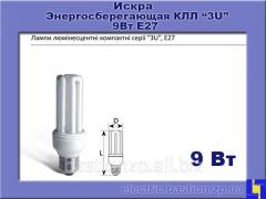 Лампа КЛЛ 9Вт/827-S/Т3-Е27. Серия: «3U» люминесцентная компактная. Искра.