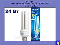 Лампа КЛЛ 24Вт/840-S/Т3-Е27. Серия: «3U» люминесцентная компактная. Искра.
