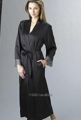 Dressing gown silk female with the French lace