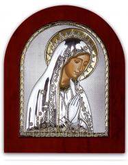 Icon Virgin Mary silver with Silver Axion gilding