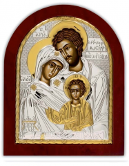 Icon the Holy family Silver with Silver Axion