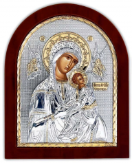 Icon of the Holy Mother of God silver plated 925