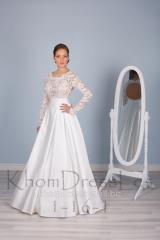 Свадебное платье безкорсетное c кружевным верхом и