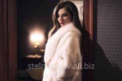 Snow-white fur coat from arctic fox, chinchilla
