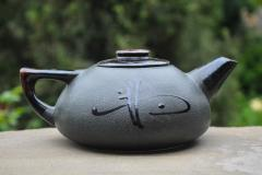Teapot ceramic black big