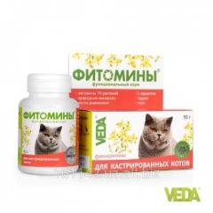 Фитомины с фитокомплексом для кастрированных котов 100 таб Veda