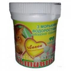 Витаминная добавка с морскими водорослями для кошек 90 таб Лакки