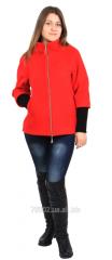 Пальто 350 укороченное на молнии кашемир (красное)